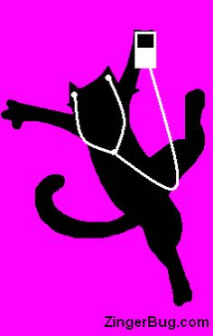 Ipod cat Funny Graphic Glitter Graphic, Greeting, Comment, Meme or GIF - not sure if he's dancing or being shocked by his headphones!
