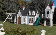 Imagine, swing , slide and play in this customed -designed castle play structure by Lilliput Play Homes, Inc.