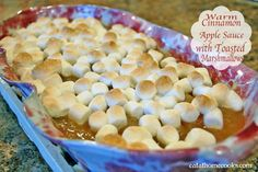 Warm Cinnamon Applesauce with Toasted Marshmallows - Easiest side dish that your family will love!