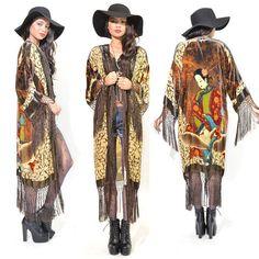 Boho rugissant des années 90 Pure soie velours bordées de KIMONO Duster veste menthe petites et XL
