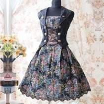 Black Floral Print Vest Decoration Lolita Dress