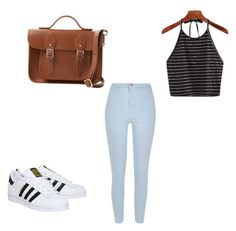 """""""From rebeca"""" by melgcruz ❤ liked on Polyvore featuring River Island, adidas and The Cambridge Satchel Company"""