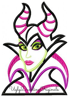 Maleficent Villain Machine Embroidery Applique Design Digital Download
