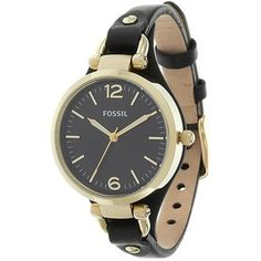 Shop for Fossil Women's 'Georgia' Black and Goldtone Leather Strap Watch. Get free delivery at Overstock.com - Your Online Watches Shop! Get 5% in rewards with Club O!