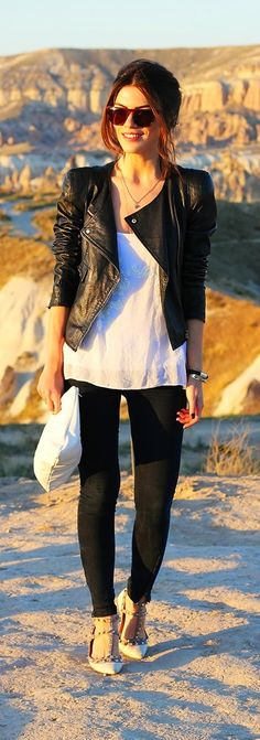 Black Skinny Jeans with Leather Moto and White Shine
