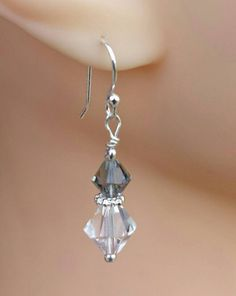 clear-and-gray-swarovski-crystal-dangle earrings on silverplated findings