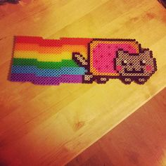 Nyan Cat perler sprite.  This one is simple, but time consuming.