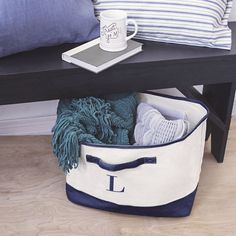 Personalized Navy Canvas Square Storage Bin (S), Blue