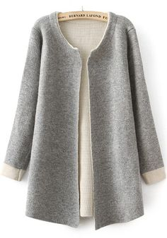 Grey Plain Long Sleeve Cardigan - Cardigans - Sweaters - Tops