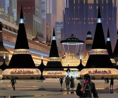 Early Coruscant concept art by Ralph McQuarrie #starwars #mcquarrie #movieillustration