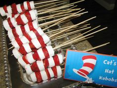 cat in the hat strawberries and marshmellows | Cat's Hat Kabobs