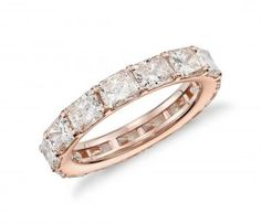 Womens 4.69ct Radiant-Cut Diamond Eternity Ring in 18k Rose Gold