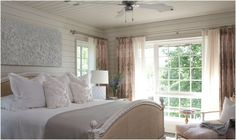 Tracery Interiors - Beach house bedroom.