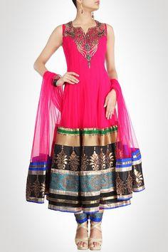 Dark Pink color long anarkali suit – Panache Haute Couture