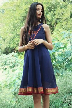 Boho style navy blue flared dress by Mogra made from an Indian Saree. Saree Gown, Sari Dress, Simple Kurti Designs, Blouse Designs, Gown Party Wear, A Line Kurti, Boho Fashion, Fashion Dresses, Frock For Women
