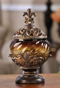 Polystone/Glass Fleur de lis-Gifts; Home Decor