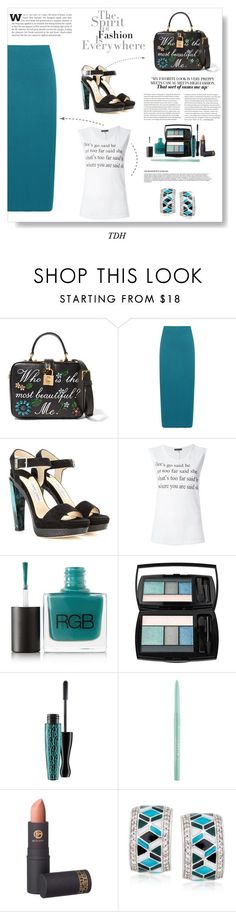 """D&G Handbag"" by talvadh ❤ liked on Polyvore featuring Dolce&Gabbana, WearAll, Jimmy Choo, Ann Demeulemeester, RGB, Lancôme, MAC Cosmetics, Stila, Lipstick Queen and Belle Etoile"