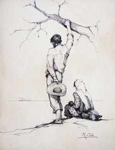 Raimundo Cela - Água Forte sobre papel - 76,7 X 40,5cm