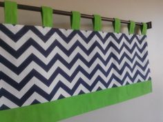 Tab Top Valance Tab Tap Navy/White/Lime Green by CleusaSordiDecor