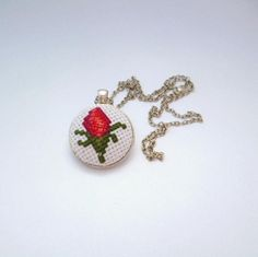 Jewelry for women, Modern necklace, Summer necklace, Gift for women, Gift for her, Embroidered pendant, Necklace red rose, Elegant necklace by Koserowa on Etsy