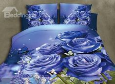 Graceful Blue Roses Print 4-Piece Polyester Duvet Cover Sets