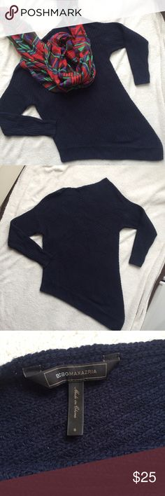 ⚡️FLASH SALE BCBGMaxazria Asymmetrical Sweater BCBGMaxazria Asymmetrical Navy Sweater - size small. Great condition! Could be worn as a sweater dress. ***scarf is for sale too*** BCBGMaxAzria Sweaters