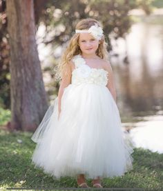395b2d2f2 Ivory cute custom made flower girl dress. Puffy tulle skirt flows from  empire waist, one shoulder bodice decorated with opulent flowers  embellishment makes ...