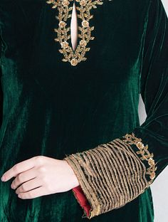 Green-Golden Sequin & Dabka Embellished Velvet-Silk Kurta
