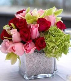 pink red and green centerpiece