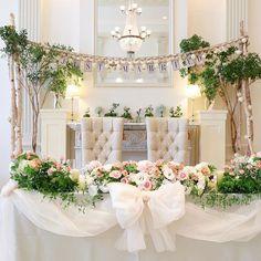 お気に入りの高砂♡ ブライダルフェアで気に入った 白樺装飾にしてもらいました♪ リボンも可愛い〜♡ #高砂 #wedding #卒花嫁レポ #リボン #白樺 #グリーン #ブライダルフェア #花 #ピンク #justmarried #ナチュラル #結婚式 #2016秋婚 #161016 Round Wedding Tables, Bridal Party Tables, Wedding Table Decorations, Enchanted Forest Wedding, Glamorous Wedding, Gothic Wedding, Tent Wedding, Wedding Event Planner, Sweetheart Table