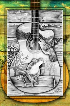 frog guitar pencil drawing painting