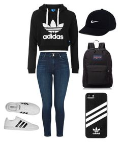 ❤️ by jasmeen-messi on Polyvore featuring polyvore, fashion, style, Topshop, J Brand, adidas, JanSport, NIKE and clothing