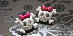 Hot Pink Skull and Crossbones Earrings by LillyJaneJewelry on Etsy, $10.00