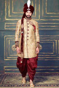 Traditional Wedding Indo Western Sherwani   #designer #exclusive #trendy #sherwani #wedding #collection #embroidered Sherwani Groom, Mens Sherwani, Wedding Sherwani, Wedding Wear, Wedding Suits, Indian Groom Dress, Moda Indiana, Achkan, Weeding Dress