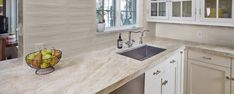 Taj Mahal Satin, Gioia Greige Crawford House, Kitchen Backsplash, Kitchen Cabinets, Taj Mahal Quartzite, Satin, Home Decor, Places, Inspiration, Lugares