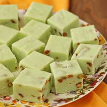 Perfect Pistachio Fudge With White Chocolate and Pudding Mix.  I highly recommend this!!  My daughter made it and it was sooooooo good!!