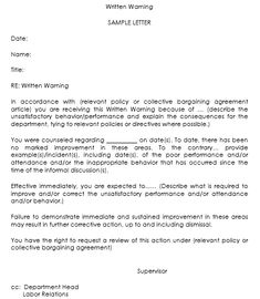 spell words with letters warning letter to employee who visited client s premises 497