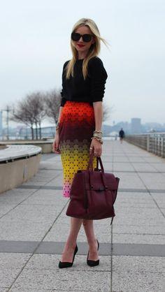 Black top, patterned skirt