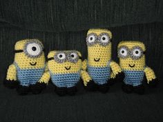 Despicable Me. Four minions. Free crochet pattern. Ravelry
