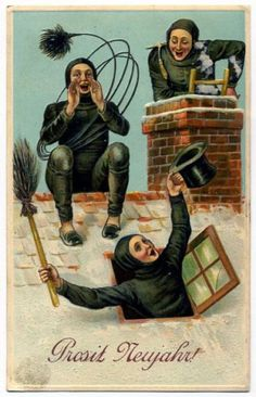 Post Card Chimney Sweeps On Roof New Years