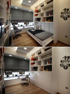 I love Murphy beds! They can turn almost any room into a guest room! This room design is on office/storage/guest room.