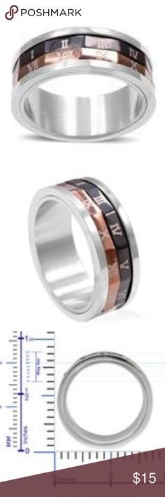 Stainless Steel Roman Numeral Spinner Band Ring This ring embraces a dashing look in decoding numbers in Roman numerals. It owns casualness with coolness in stainless steel. Accessories Jewelry