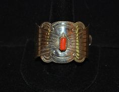 Pony Tail Holder Sterling Silver & Coral Native American Navajo Joann Silver - Broken Arrow Trading Post