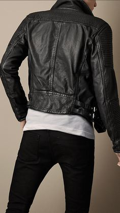 Black Quilted Panel Biker Jacket - Image 2