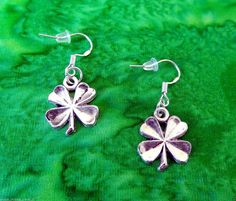 50% SALE Shamrock Earrings..Silver Shamrock Charm Earrings..Shamrock Dangle Earrings..St Patricks Day Gift..Gifts Under 5..FREE SHIPPING by UniqueTrinkets4u on Etsy
