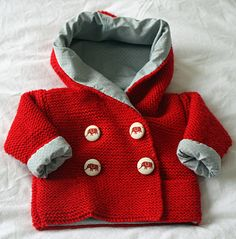 Hand knitted and lined baby jacket. Duffle Coat, Hand Knitting, Knit Crochet, Long Sleeve Shirts, Scoop Neck, Sweatshirts, Baby Dresses, How To Make, Cotton