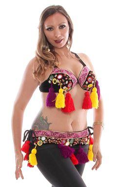 cf0b043f51 Black and Multi Colorful Shisha Tribal Bra   Belt Set Belly Dance Bra