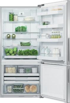 Fisher & Paykel RF170B6 31 Inch Bottom Freezer Counter Depth Refrigerator with 17.5 cu. ft. Capacity, Adjustable Glass Shelves, Humidity-Controlled Drawers, Adjustable Door Bins, Frost-Free Freezer Drawers, Freezer Tray, Pocket Handle, ENERGY STAR and Sabbath Mode