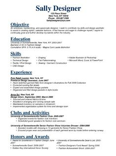 Resume of fashion design student