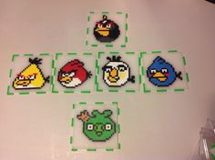 Angry Birds box  ( top, 4 sides and bottom, seperated ) perler beads by Amanda Collison